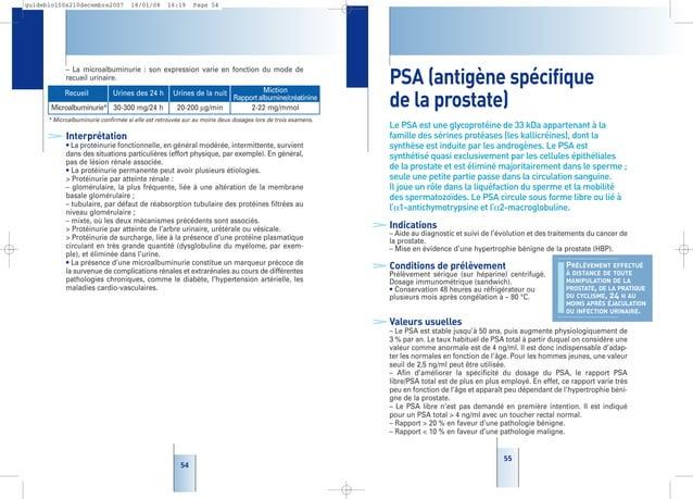 55 55 PSA (antigène spécifique de la prostate) Le PSA est une glycoprotéine de 33 kDa appartenant à la famille des sérines...