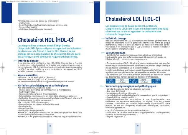 99 Cholestérol LDL (LDL-C) Les lipoprotéines de basse densité (Low Density Lipoprotein ou LDL) sont issues du métabolisme ...