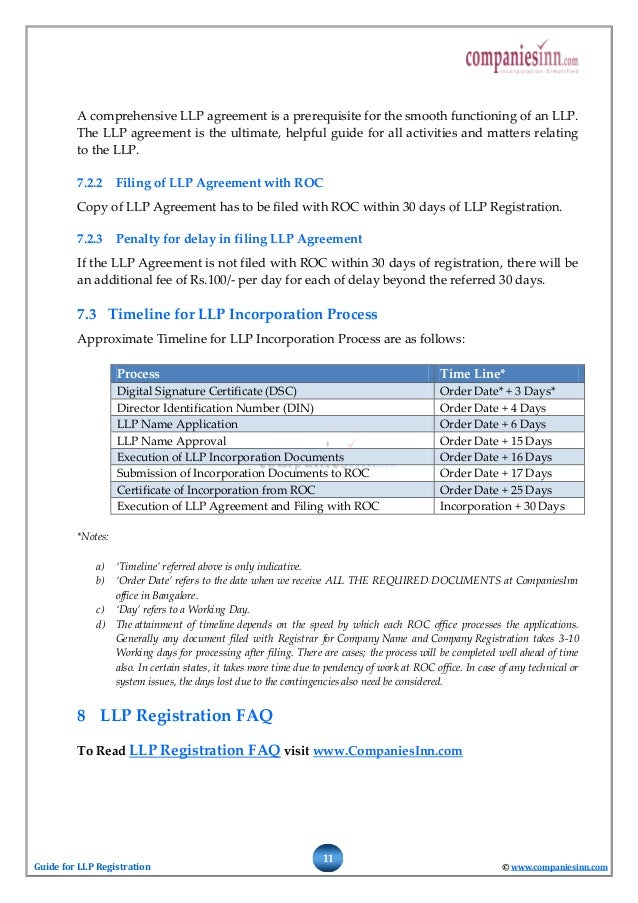 Guide For Limited Liability Partnership Llp Registration
