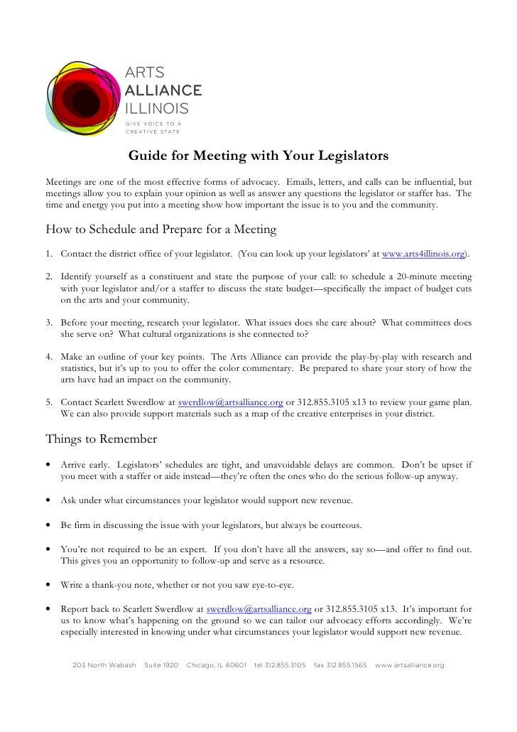 Guide for Meeting with Your Legislators Meetings are one of the most effective forms of advocacy. Emails, letters, and cal...