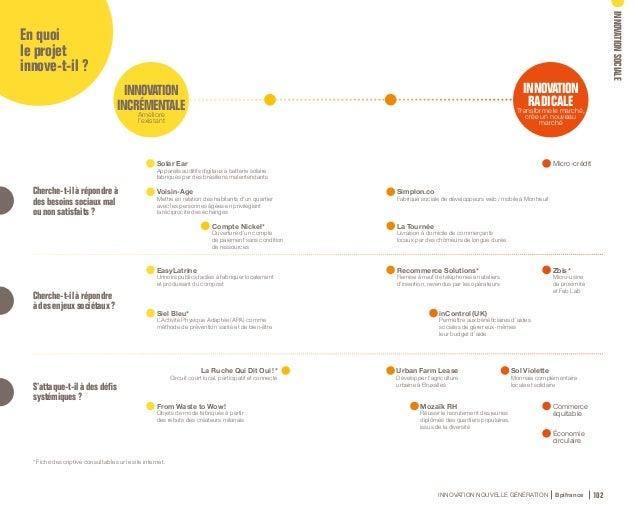 INNOVATION NOUVELLE GÉNÉRATION Bpifrance 104 En outre, pour qualifier un projet d'innovation sociale, il est important de ...
