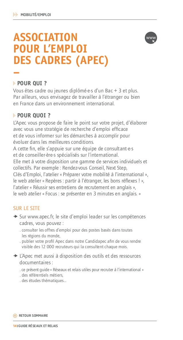 Apec Guide Reseaux Et Relais A L International Pour Les Cadres Je