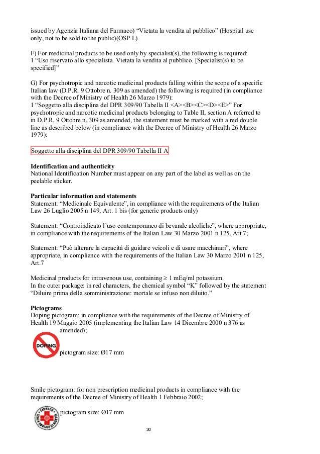 guideline packaging information