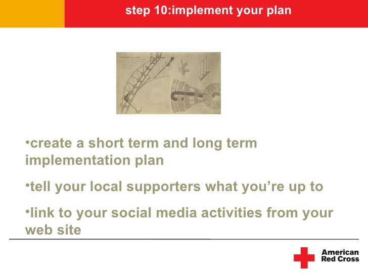 step 10:implement your plan     •create a short term and long term implementation plan •tell your local supporters what yo...