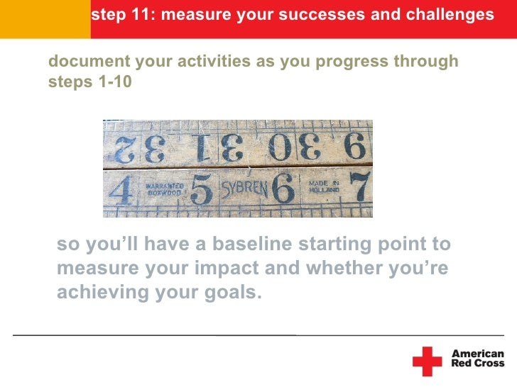 step 11: measure your successes and challenges  document your activities as you progress through steps 1-10      so you'll...