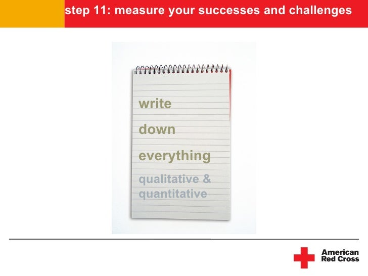 step 11: measure your successes and challenges                write            down            everything            quali...