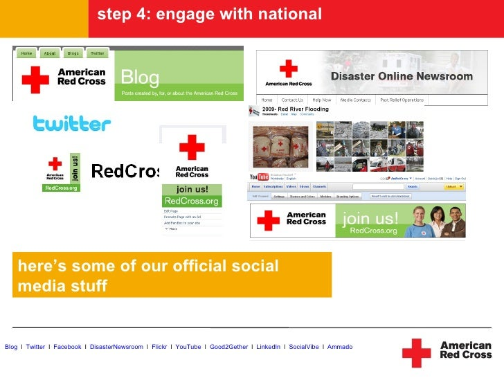 step 4: engage with national        here's some of our official social    media stuff   Blog l Twitter l Facebook l Disast...