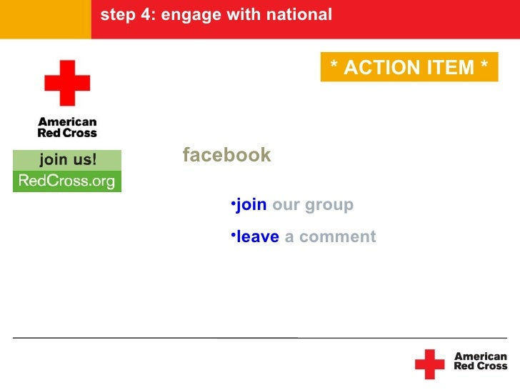 step 4: engage with national                              * ACTION ITEM *             facebook                 •join our g...
