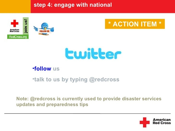 step 4: engage with national                                          * ACTION ITEM *           •follow us       •talk to ...