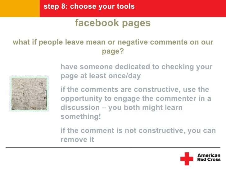 step 8: choose your tools                  facebook pages what if people leave mean or negative comments on our           ...