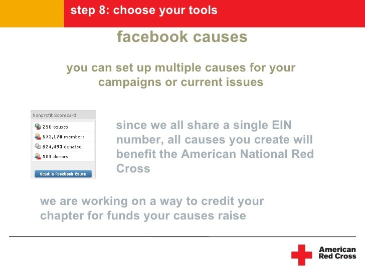 step 8: choose your tools               facebook causes     you can set up multiple causes for your          campaigns or ...