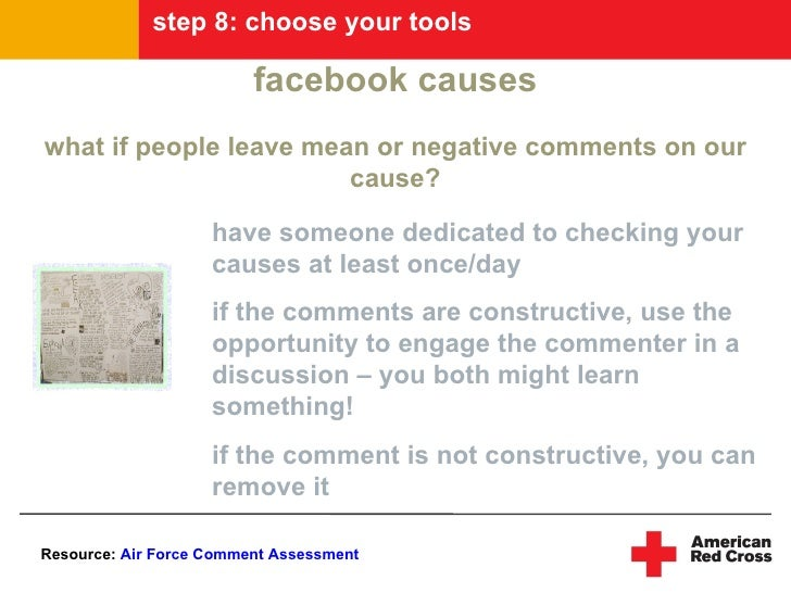 step 8: choose your tools                           facebook causes what if people leave mean or negative comments on our ...