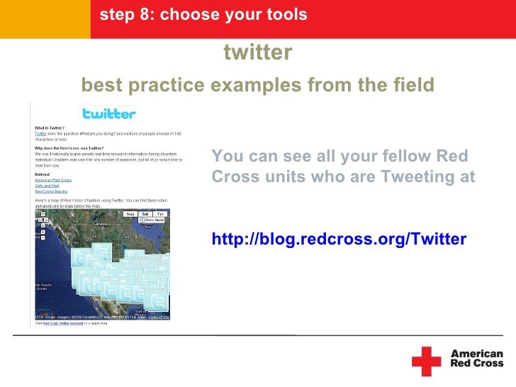 step 8: choose your tools                 twitter best practice examples from the field                 You can see all yo...