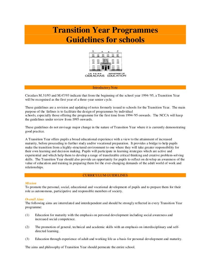 Transition Year Programmes                      Guidelines for schools                                                Intr...