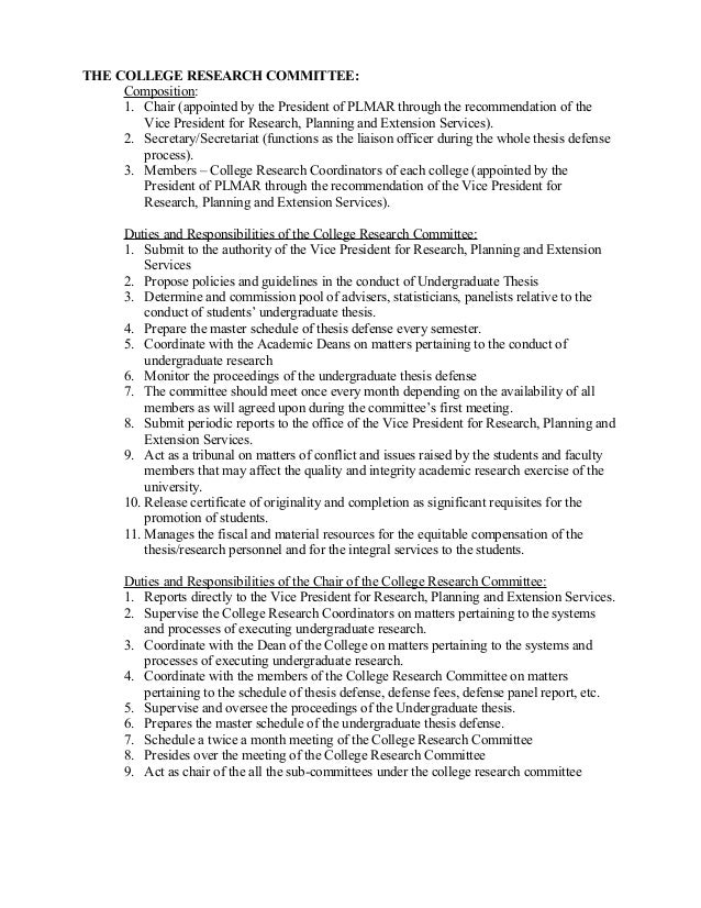 role of dissertation committee chair Roles and responsibilities of committee members and in addition to the responsibilities of a regular committee member thesis committee chairperson.