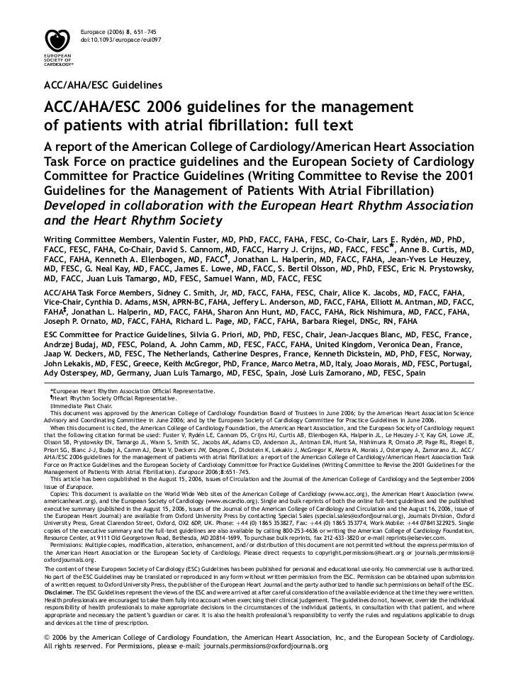 Europace (2006) 8, 651–745             doi:10.1093/europace/eul097ACC/AHA/ESC GuidelinesACC/AHA/ESC 2006 guidelines for th...