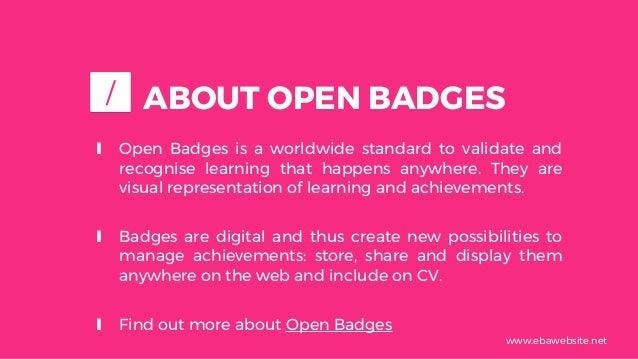 Guidelines for using Open Badges in VET mobility Slide 3