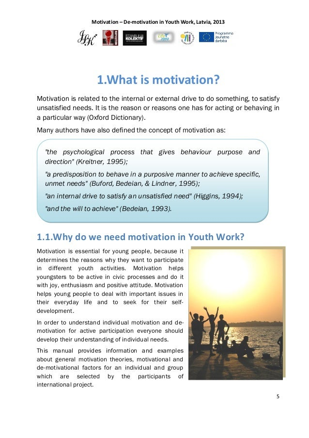 guidelines motivation de motivation in youth work motivation