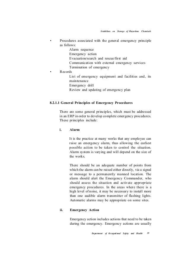 Guidelines on storage of hazardous chemicals