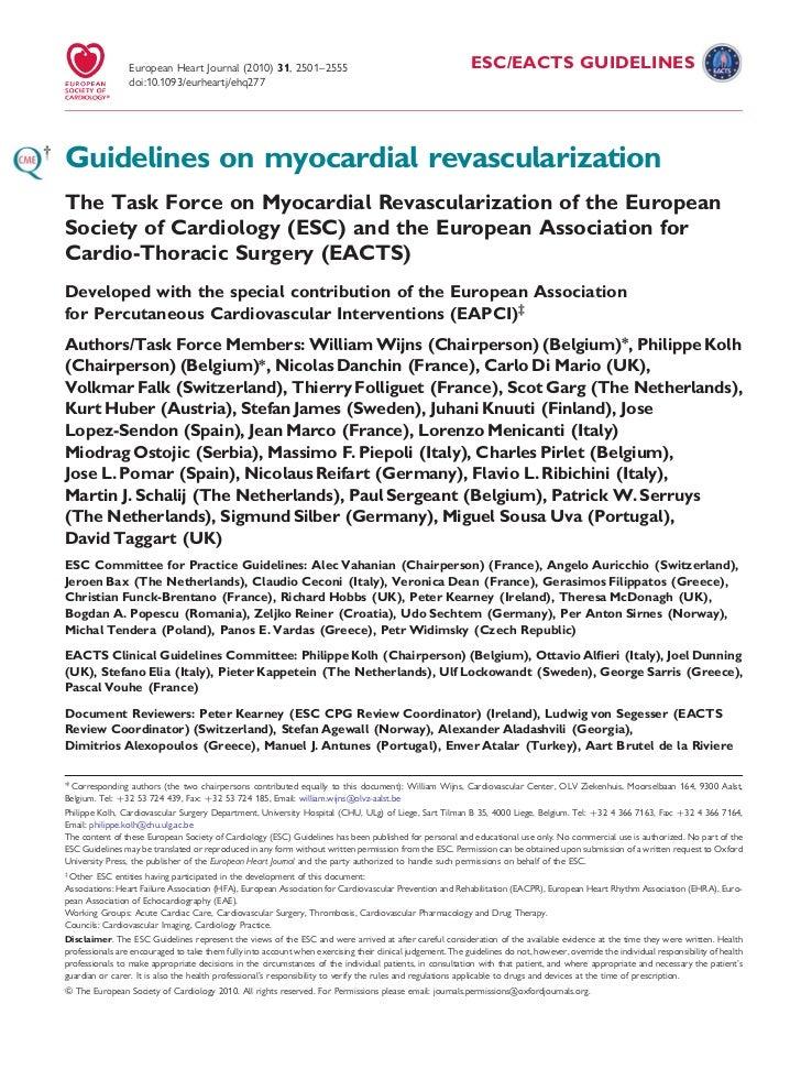 European Heart Journal (2010) 31, 2501–2555                                                 ESC/EACTS GUIDELINES          ...