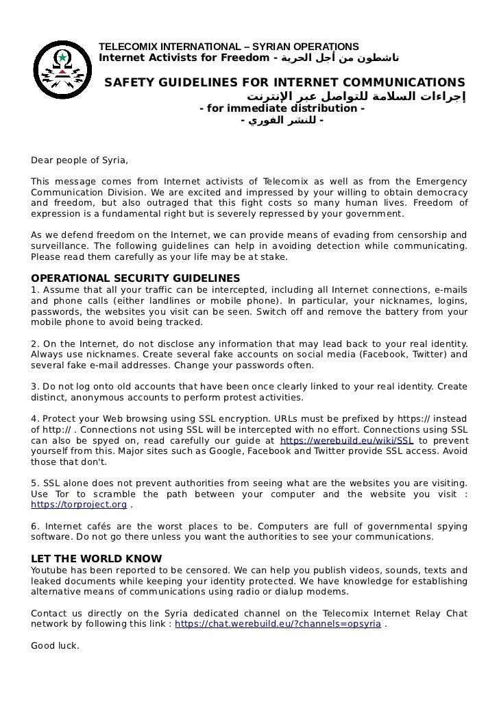 TELECOMIX INTERNATIONAL – SYRIAN OPERATIONS              Internet Activists for Freedom - ناشطون من أجل الحرية          ...