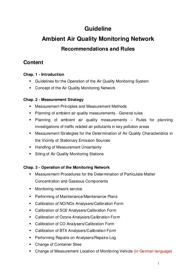 Guideline           Ambient Air Quality Monitoring Network                       Recommendations and RulesContentChap. 1 -...