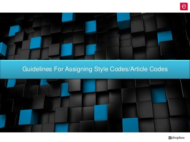 Guidelines For Assigning Style Codes/Article Codes