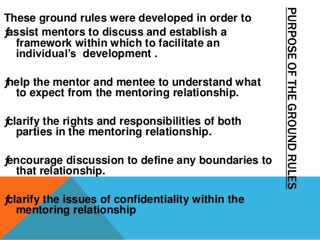 SUGGESTED WAYS OF USING THE GROUND RULES * Establishing the mentoring relationship ƒ Give the mentee a copy before the fir...