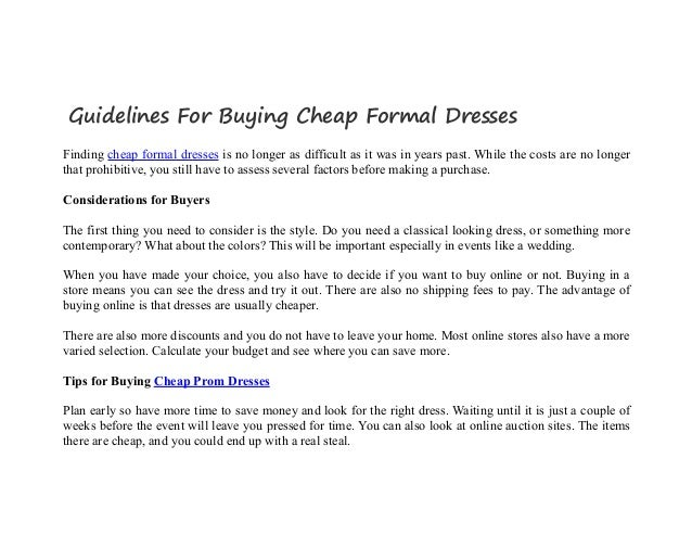 Guidelines For Buying Cheap Formal Dresses
