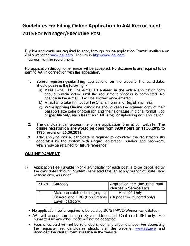 Guidelines For Filling Online Application In Aai Recruitment 2015 For
