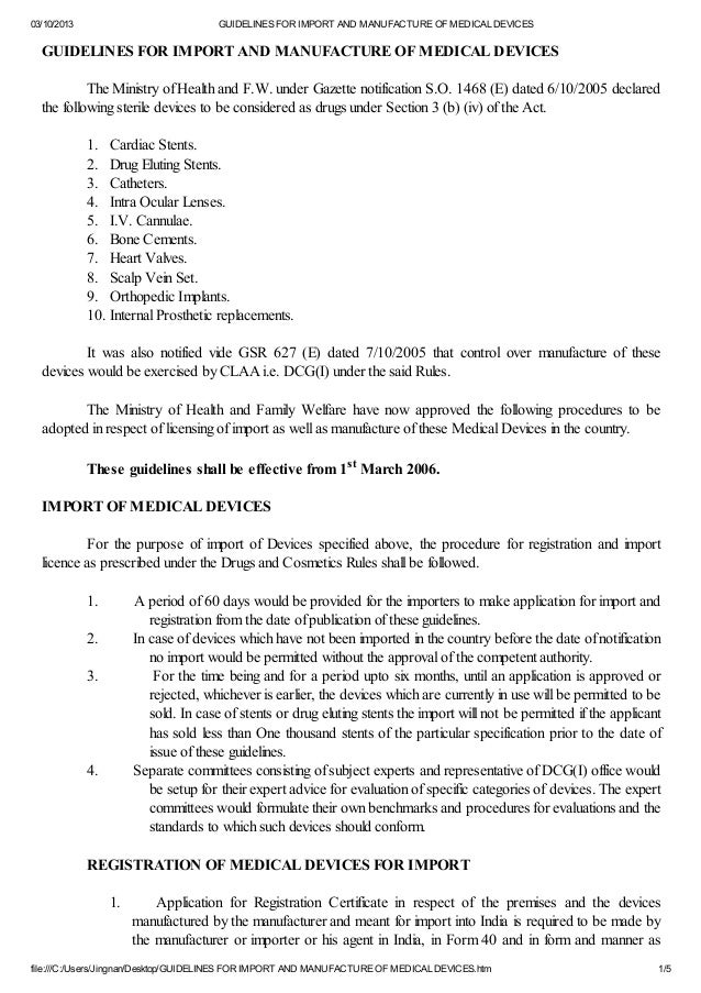 03/10/2013 GUIDELINES FOR IMPORT AND MANUFACTURE OF MEDICAL DEVICES file:///C:/Users/Jingnan/Desktop/GUIDELINES FOR IMPORT...