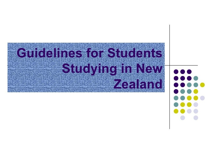 Guidelines for Students       Studying in New                Zealand