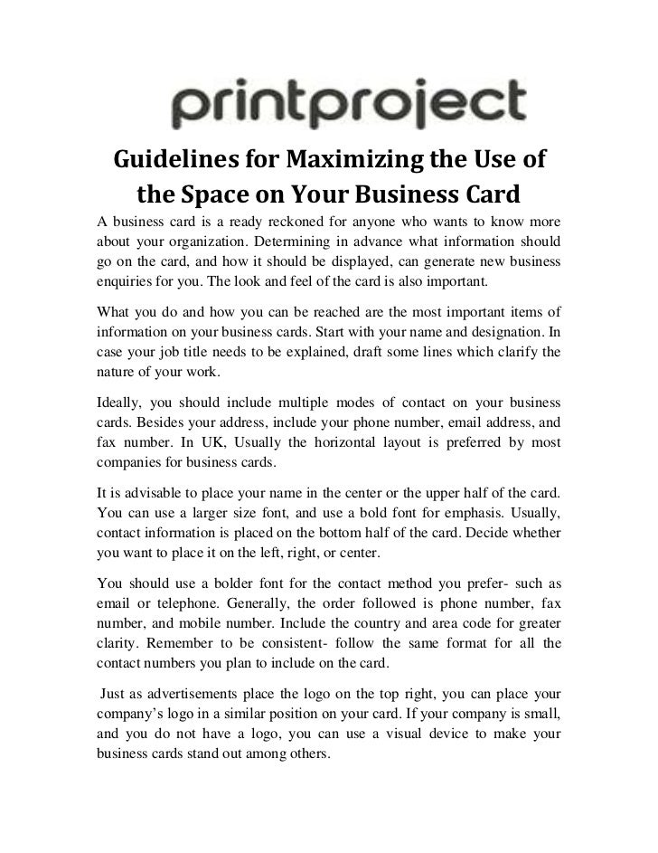 Guidelines For Maximising The Use Of The Space On Your Business Card