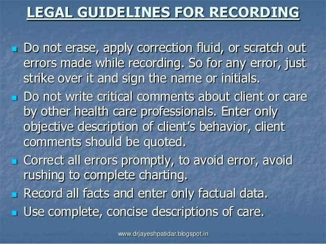 LEGAL GUIDELINES FOR RECORDING Do not erase, apply correction fluid, or scratch outerrors made while recording. So for an...