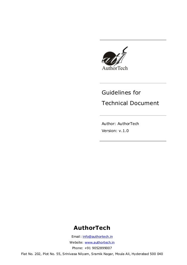 Guidelines for Technical Document  Author: AuthorTech Version: v.1.0  AuthorTech Email: info@authortech.in Website: www.au...