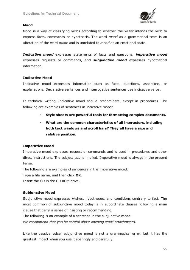 Guidelines for technical writing documents