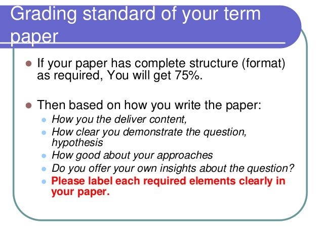 standard font size for term papers