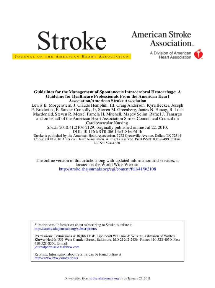 Guidelines for the Management of Spontaneous Intracerebral Hemorrhage: A        Guideline for Healthcare Professionals Fro...