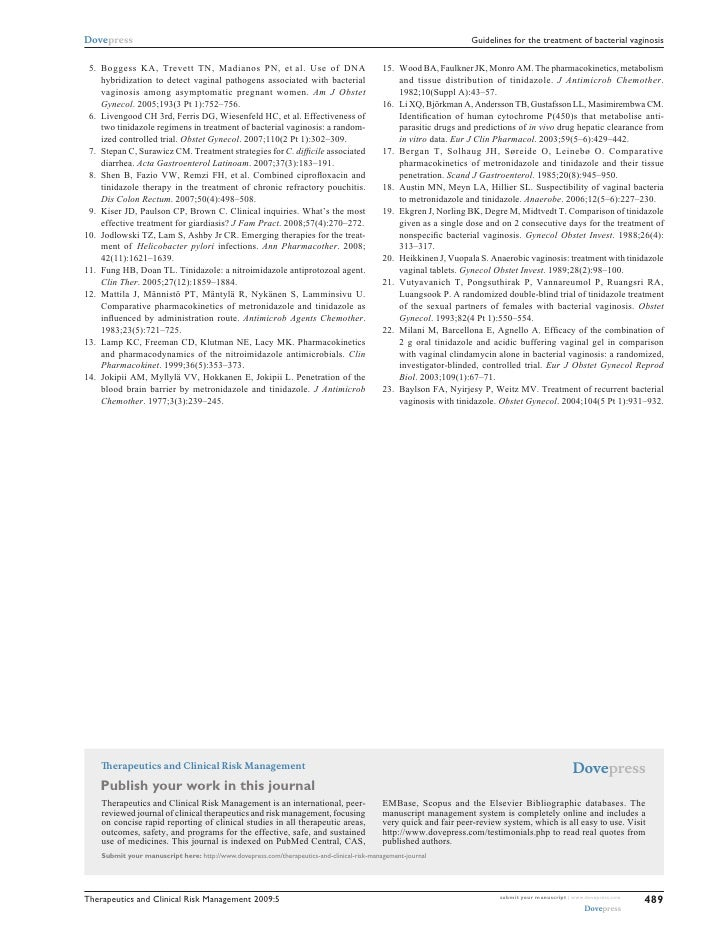 Guidelines for the treatment of bacterial vaginosis 2009