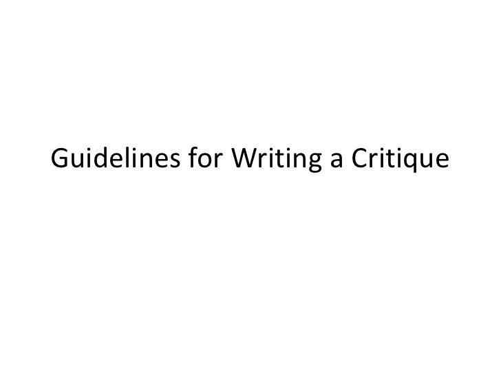 How to begin a critique essay