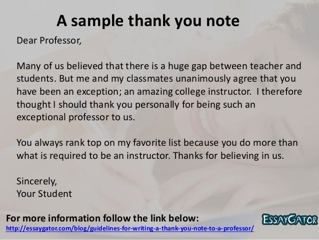 For Writing A Thank You Note To A Professor