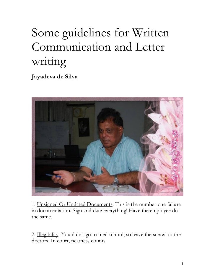 Guidelines for written communication