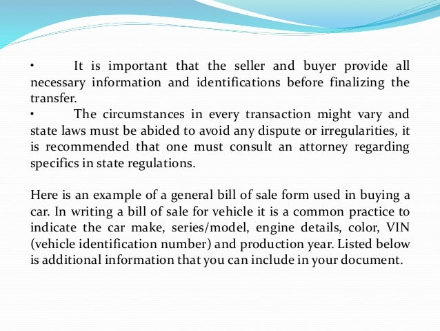 guidelines in drafting a general bill of sale form