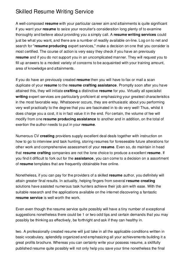 Skilled Resume Writing Service