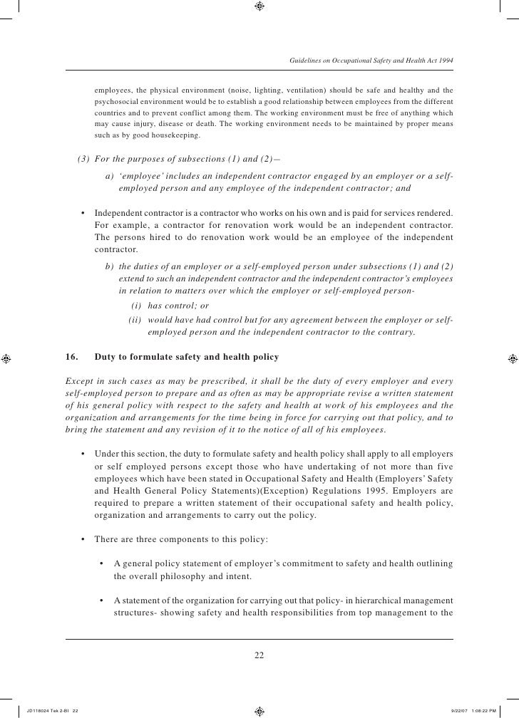Guidelines on occupational safety and health act 1994