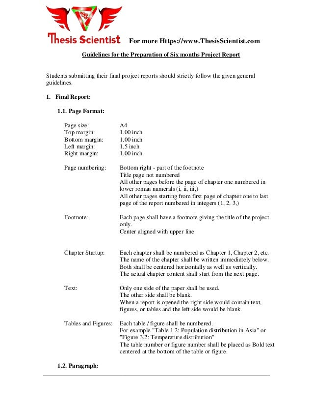 project report format computer science