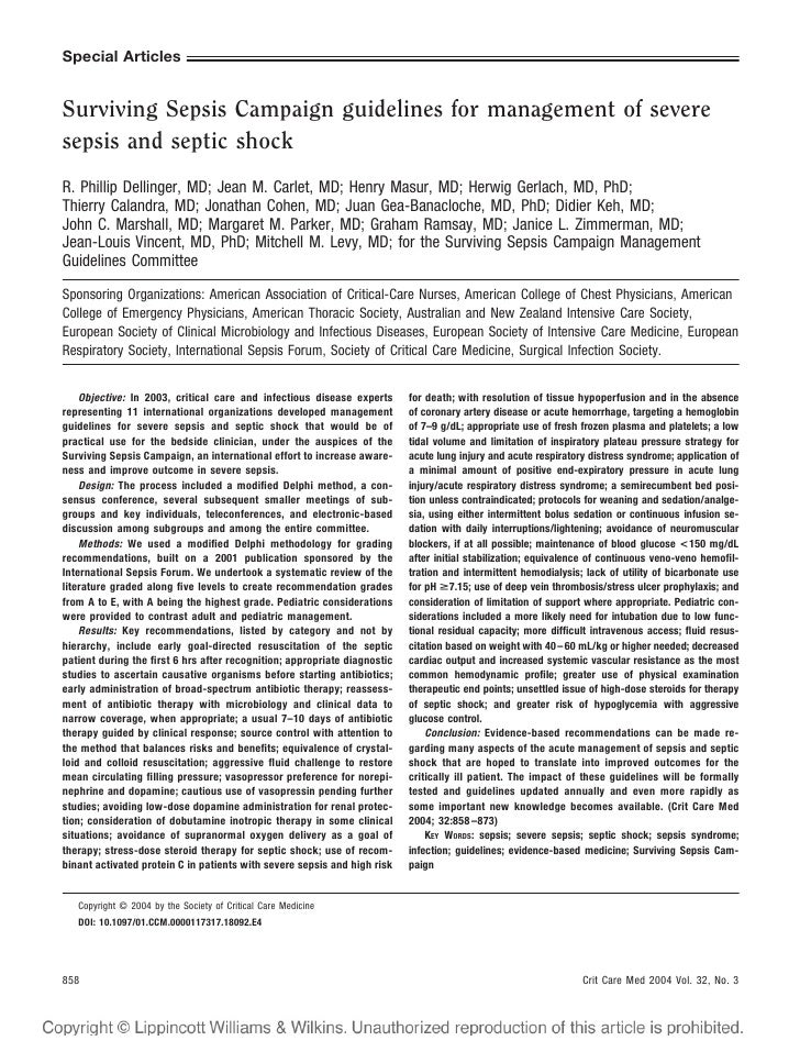 Special Articles   Surviving Sepsis Campaign guidelines for management of severe sepsis and septic shock R. Phillip Dellin...