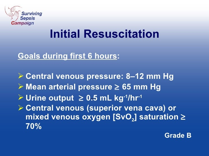 Initial Resuscitation <ul><li>Goals during first 6 hours : </li></ul><ul><li>Central venous pressure: 8–12 mm Hg </li></ul...