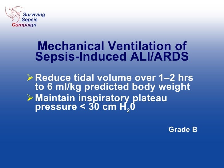 Mechanical Ventilation of Sepsis-Induced ALI/ARDS <ul><li>Reduce tidal volume over 1–2 hrs to 6 ml/kg predicted body weigh...