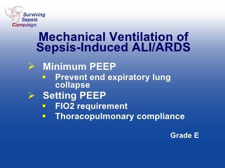 Mechanical Ventilation of Sepsis-Induced ALI/ARDS <ul><li>Minimum PEEP </li></ul><ul><ul><li>Prevent end expiratory lung c...